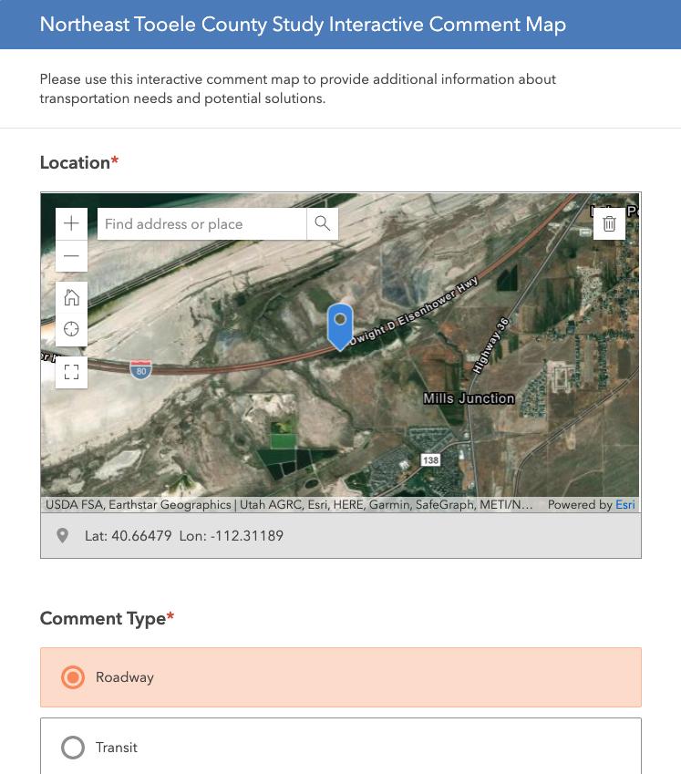 Screenshot of NE Tooele Study Comment Map